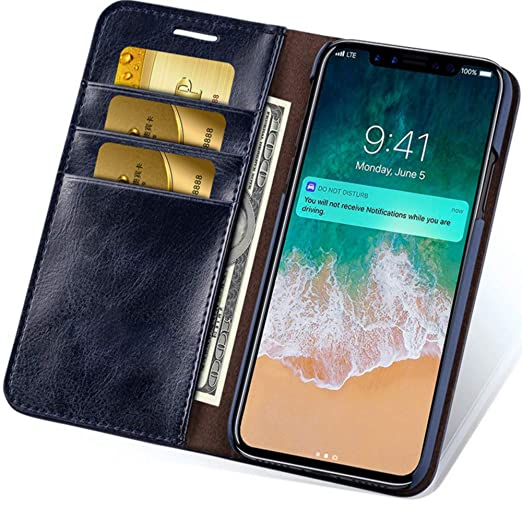 more photos 8f371 88403 iPhone X/XS/XR/XS Max Leather Wallet Phone Case with Slim Flap Cover and  Card Slots