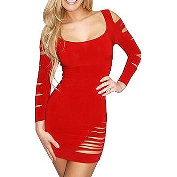 adab96bcc4b0c6 Sexy Lange Ärmel Barrakudas engen hip Slim Fit kurzes Kleid (Rot ...