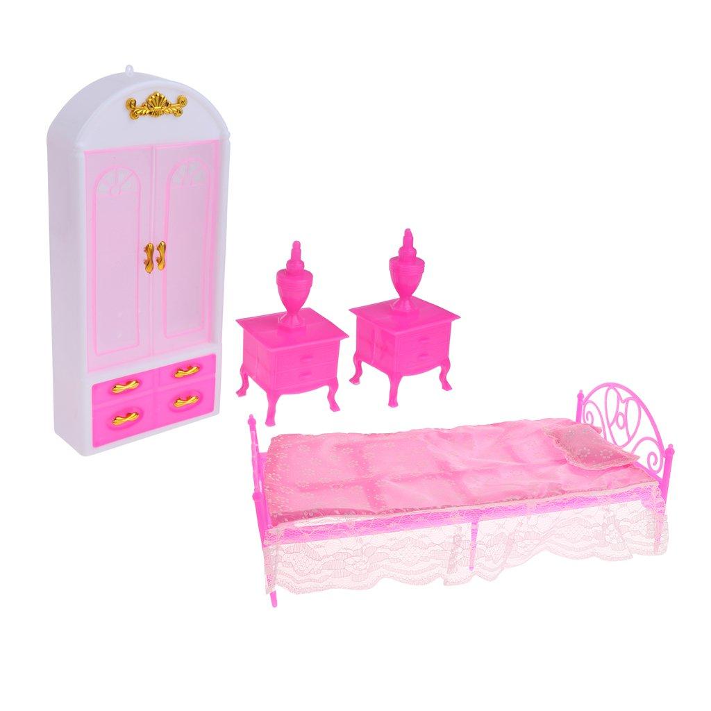 MagiDeal 4pcs Puppenhuas Schlafzimmer Möbel Set - Mini Puppenbett + Schrank  + Bettlampe aus Kunststoff  Amazon.de  Spielzeug a502f05968