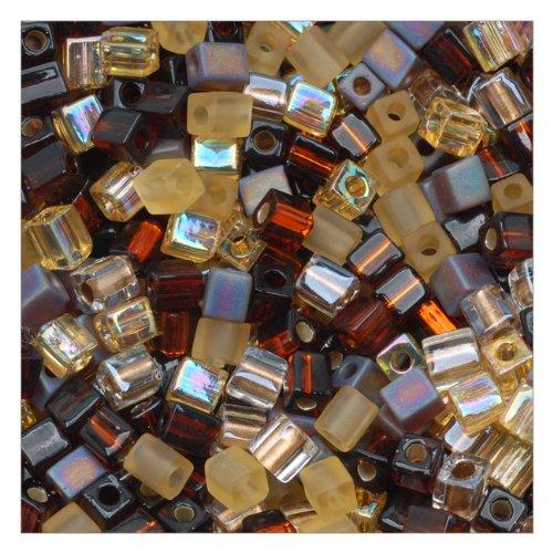 Beadaholique Miyuki 10gm Glass Cube Wheatberry Color Mix Beads, 4mm, Browns Ambers