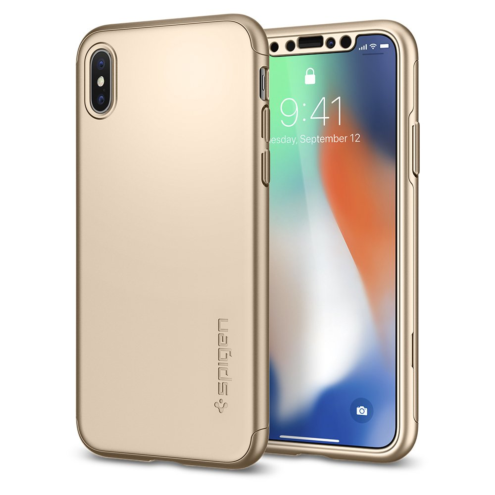 Spigen Thin Fit 360 with Exact Slim Full Protection with Tempered Glass Screen Protector Designed for Apple iPhone Xs Case (2018) / Designed for Apple iPhone X Case (2017) - Black (SF Coated) 057CS22177
