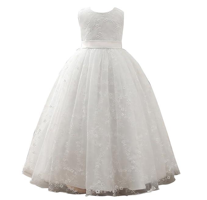 Niñas Princesa Vestidos de encaje Para Fiesta Del Boda sin Mangas Largos Vestido Formal Boda 160cm