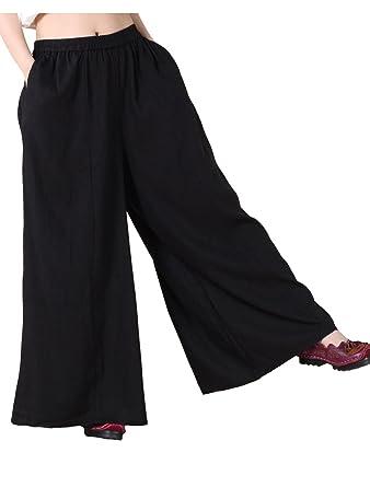 ac04d76d6d8 Mordenmiss Women s Linen Wide Leg Elastic Waistband Pants with Pockets  Medium Black