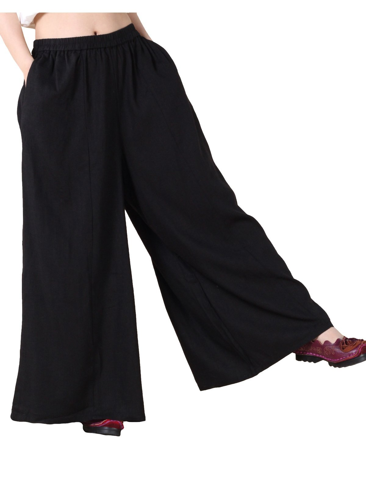 Mordenmiss Women's Linen Wide Leg Elastic Waistband Pants with Pockets Large Black