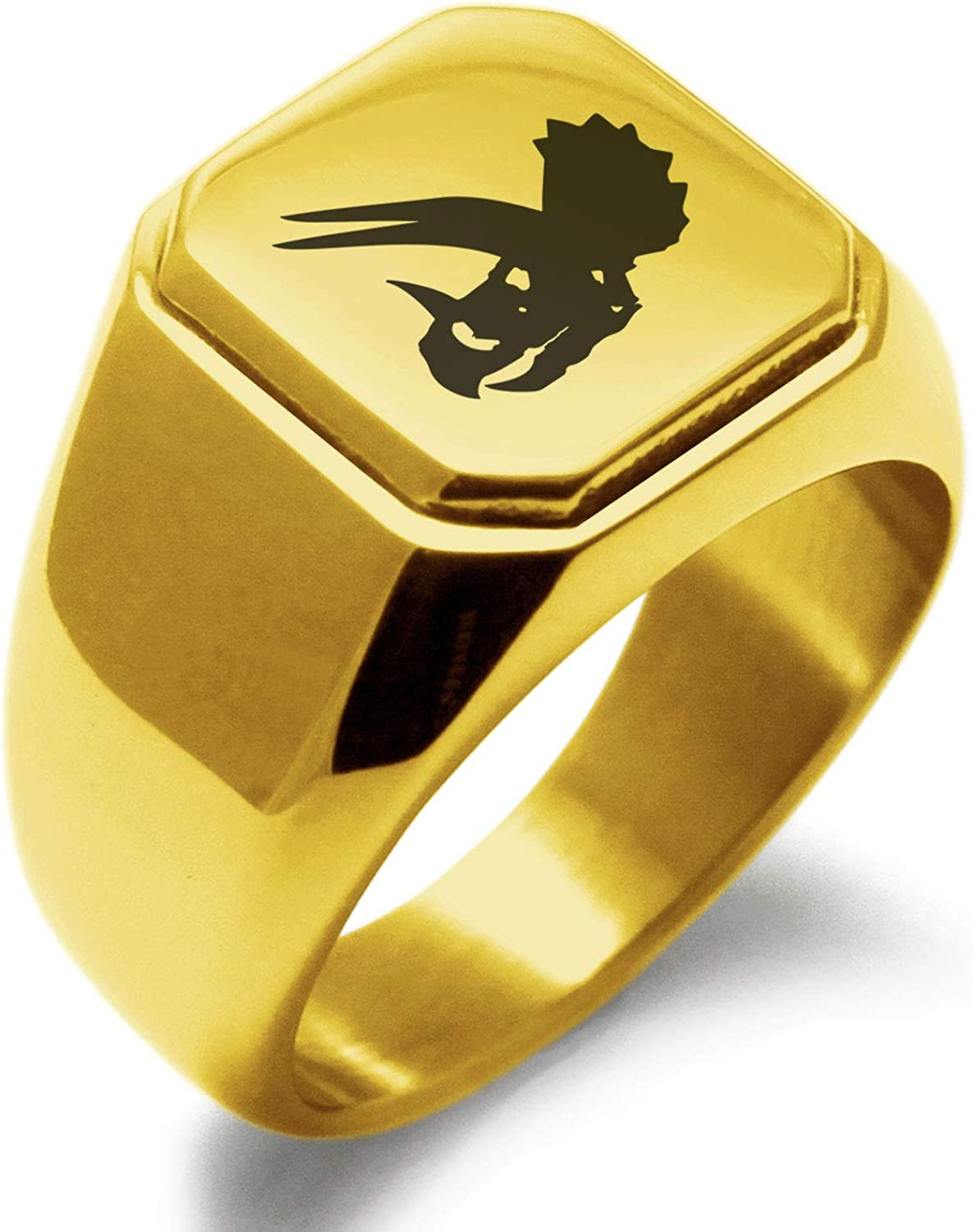Tioneer Stainless Steel Tyrannosaurus Rex Fossil Minimalist Oval Top Polished Statement Ring