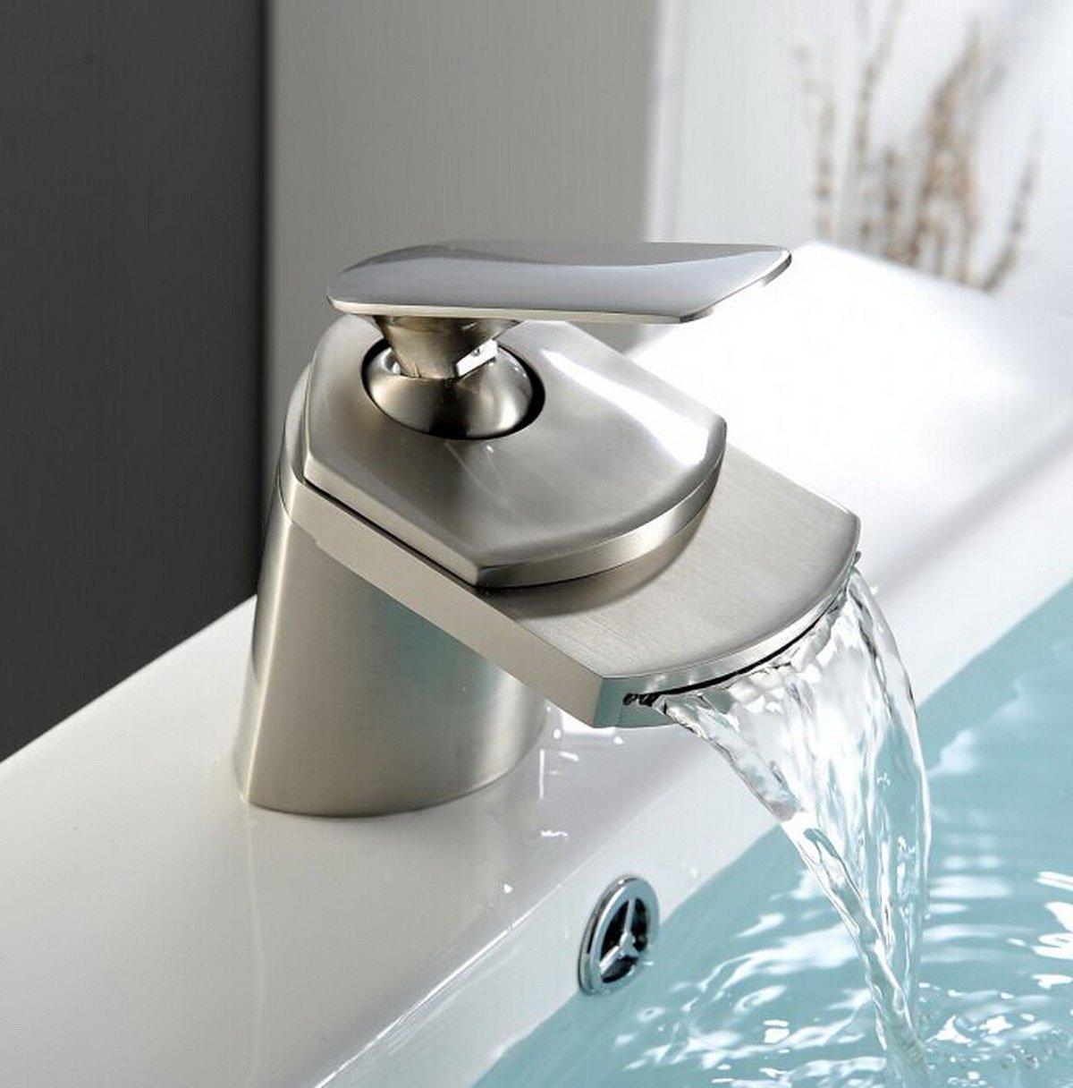 On Sale Yajo Modern Widespread Waterfall Spout Bathroom Vessel Sink Faucet Brushed Nickel
