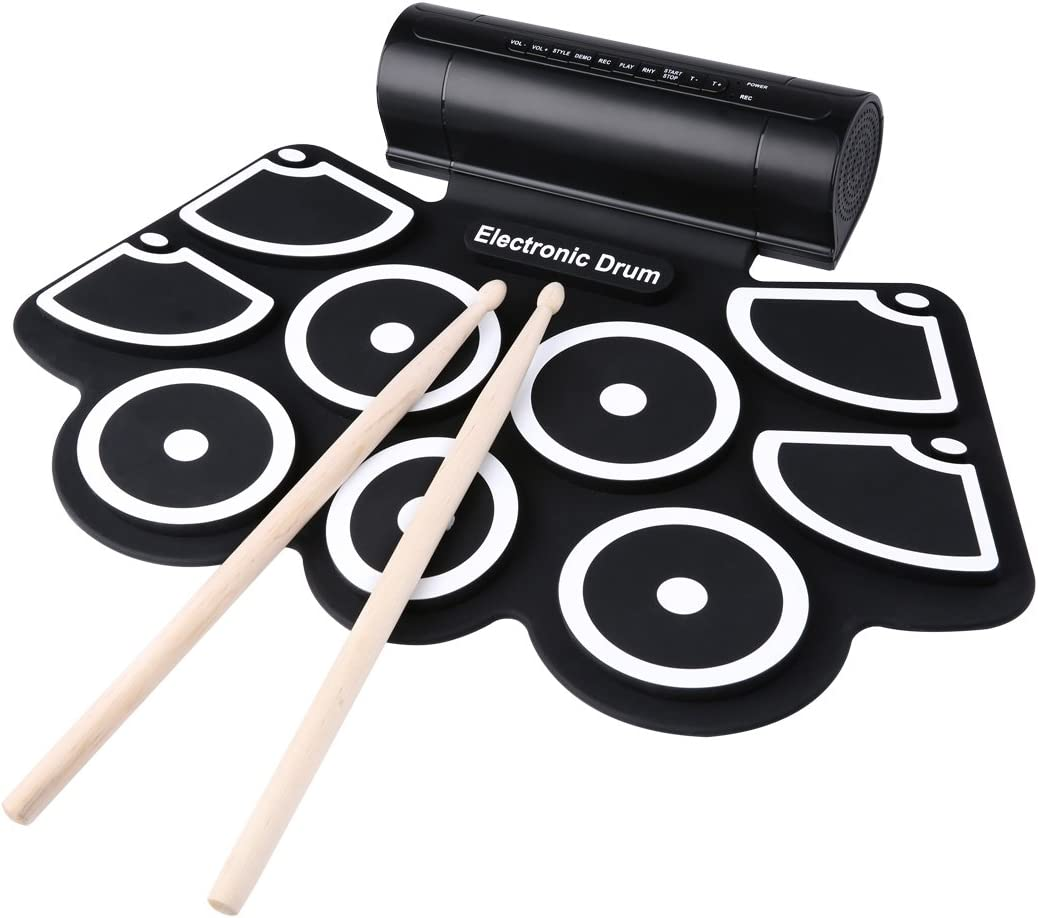Lightahead Portable 9 Pads Drumsticks 2 Pedals Electronic Roll Up Drum Set Kit with Built in Speakers and Power Supply .