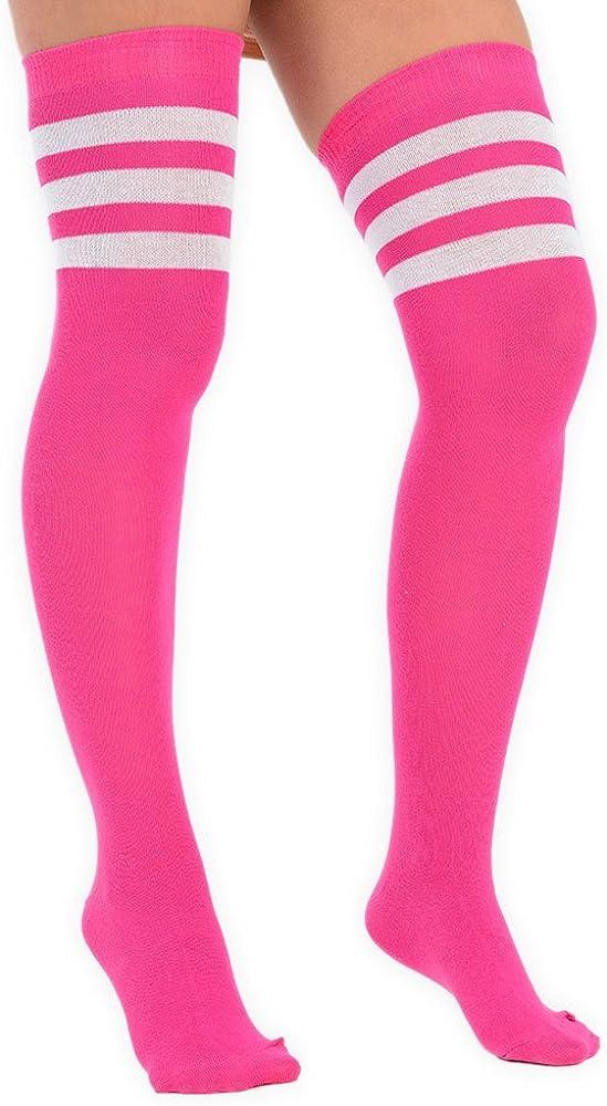 Mujeres sobre la rodilla Cosplay muslo de color alto 3 calcetines a rayas en 4 colores EU 37-41