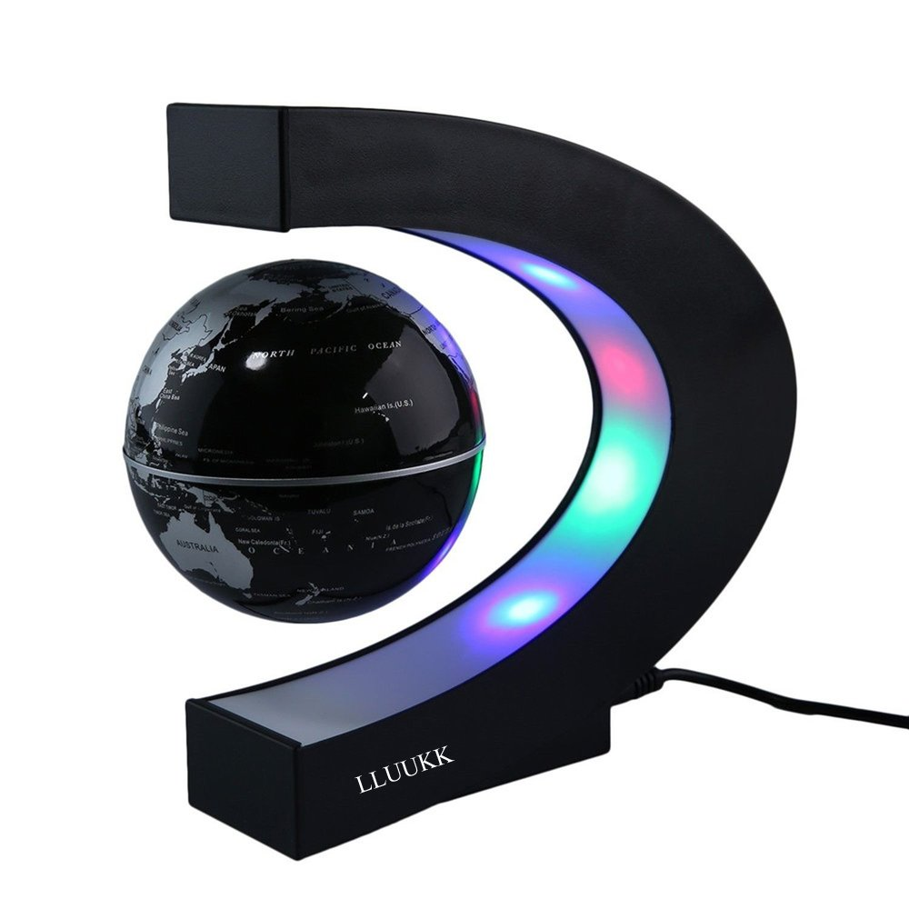 KIVVEE World Map Floating Globe Black ball Magnetic Levitation C Shape 3'' Rotating Planet Earth Ball Anti Gravity LED Light night Lamp Educational Gifts for Kids Home Office Desk Decoration