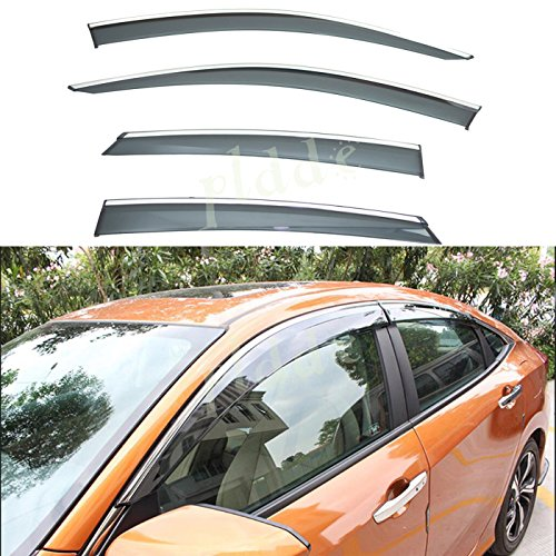 (PLDDE 4pcs Smoke Tint With Chrome Trim Outside Mount Tape On/Clip On Style PVC Sun Rain Guard Window Visors Fit 16-18 Honda Civic 4-Door)