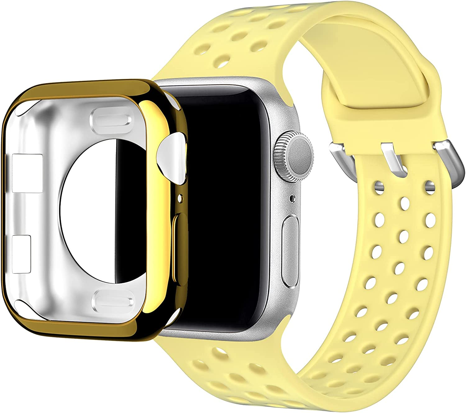 Huishang Compatible for Apple Watch Band 38mm 40mm 42mm 44mm with Protective Case,Sports Band Women Men Silicone Replacement Wrist Strap for iWatch Series 6 SE 5 4 3 2 1(Yellow,44mm)