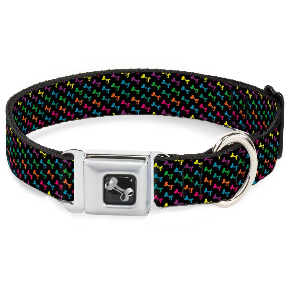 Buckle-Down Dog Bone Black Multi color Dog Collar Bone, Medium 11-17