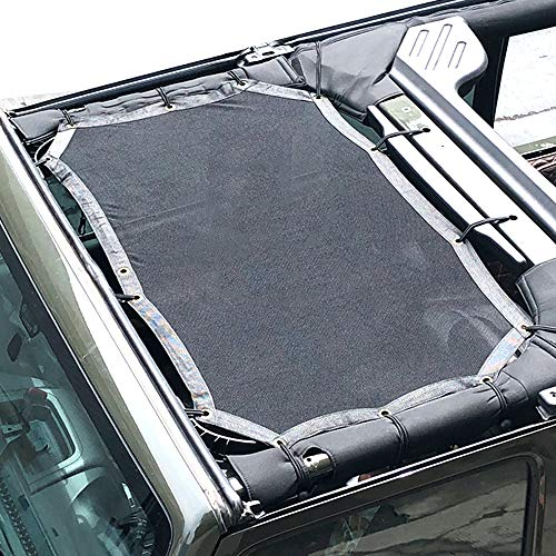 Fits Jeep Wrangler Roof Mesh Sunshade Top Cover Shield for JK JKU Sun Shade 2007 to 2017