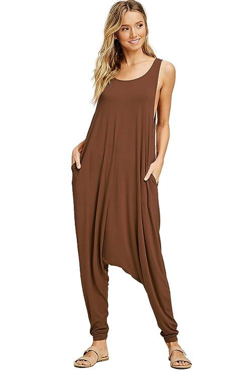758b21b3de Amazon.com  Annabelle Women s Solid Harem Pant Sleeveless Pocket Harem Pant  Jumpsuit  Clothing