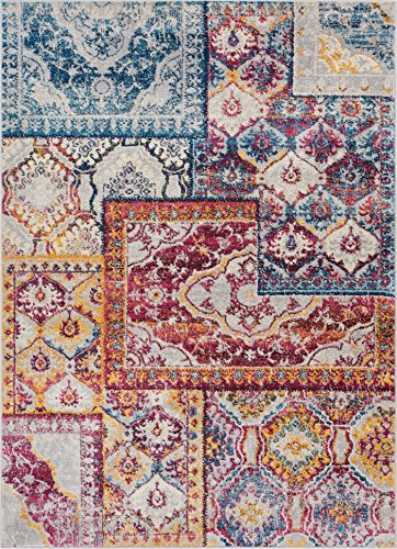 Well Woven Greenwich Floral Blue & Red Boho Patchwork Area Rug 8x11 (7