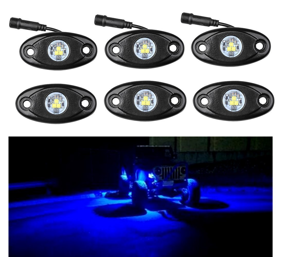 SUPAREE 6pcs LED Rock Light JEEP ATV SUV Offroad Truck Boat Underbody Glow Trail Rig Lamp Waterproof - White (Plug and Play, Easy Installation-Pack of 6 4333017128