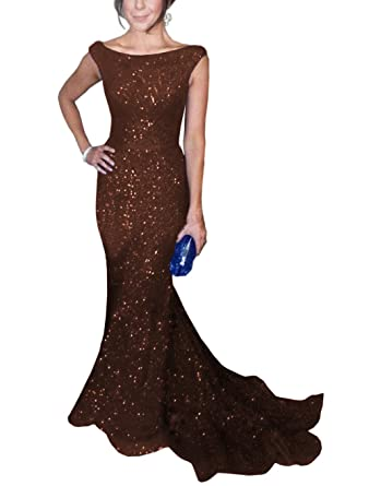 Solovedress Womens Mermaid Sequined Formal Evening Dress for Wedding Prom Gown (UK 6,Coffe