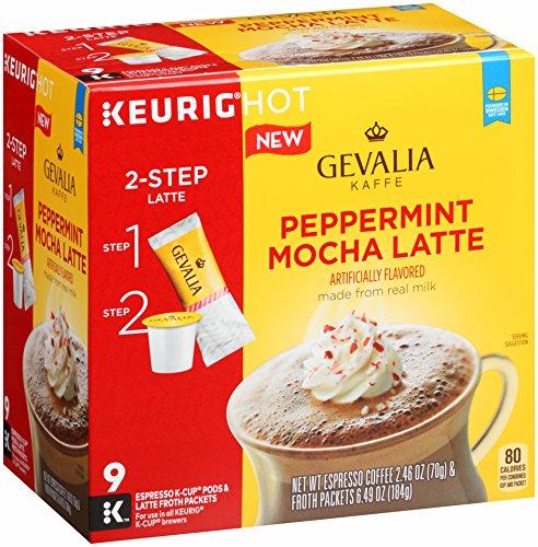 GEVALIA Peppermint Mocha Latte K-Cup Pods Coffee, 9 Count