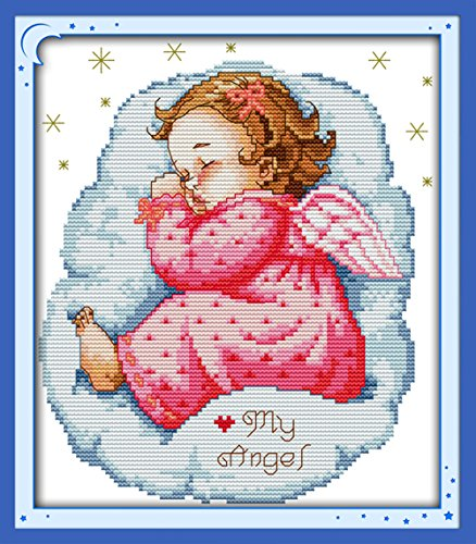 (YEESAM ART New Cross Stitch Kits Advanced Patterns for Beginners Kids Adults - Asleep Angel Baby Girl 11 CT Stamped 28×35 cm - DIY Needlework Wedding Christmas Gifts)