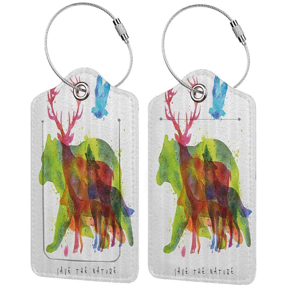 Multi-patterned luggage tag Animal Decor Alaska Animals Bears Wolfs Eagles Deers in Abstract Colored Shadow like Print Double-sided printing Multicolor W2.7 x L4.6