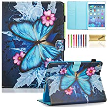 iPad Air 2 Case, iPad 6 Case, Dteck(TM) Pretty Cute Cartoon Flip Smart Kickstand Case with {Auto Sleep Wake} Premium Synthetic Leather Magnetic Wallet Cover for Apple iPad Air 2-Blue Butterfly&Pink Flower