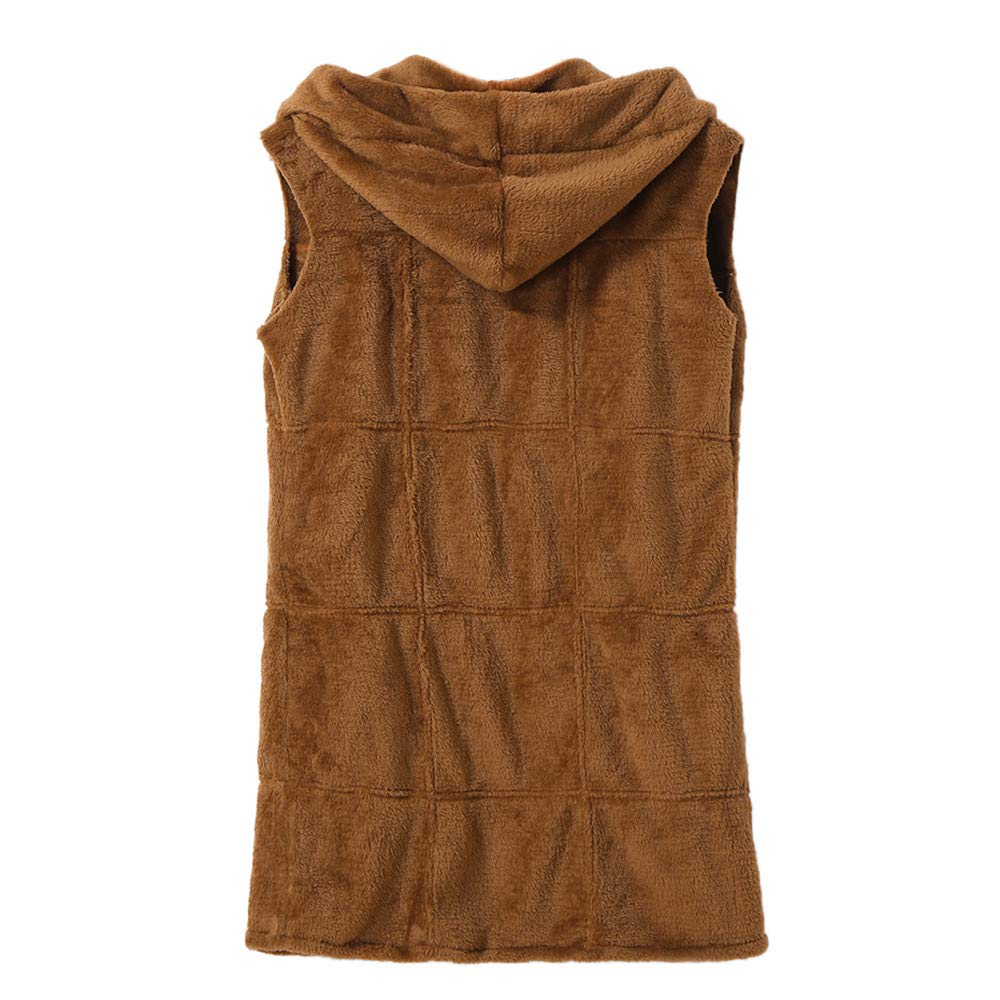 Amazon.com: Excellent Value Besde Womens Plus Size Autumn and Winter Fashion Sleeveless Hooded Coat Solid Color Warm Long Flannel Coat: Sports & Outdoors