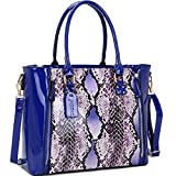 Dasein Women's Fashion Snake Print Top Zip Work Tote Satchel Handbags Shoulder Bag Purse 1 Snakeskin Print Royal Blue