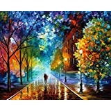 Paint by Number Kit,Diy Oil Painting Drawing Romantic Street Lovers Walks In the Street Canvas with Brushes Christmas Decor Decorations Gifts - 16x20 inch Frameless