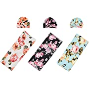 Little Jump 3 Sets Baby Swaddle and Hat Set Flower Print Newborn Receiving Blanket Headband Set, Baby Swaddle Wrap Floral Baby Blankets for Girls and Boys. (Receiving Blankets & Hats)