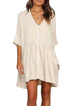 ef8c5a89fa1 FIYOTE Women Casual Loose V Neck Fit Half Sleeve Short Swing Tunic Shift  Beach Dress Small