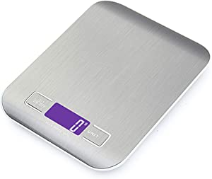 Digital Food Kitchen Scale, Multifunction Scale Measures in Grams and Ounces (Stainless Steel Grey)