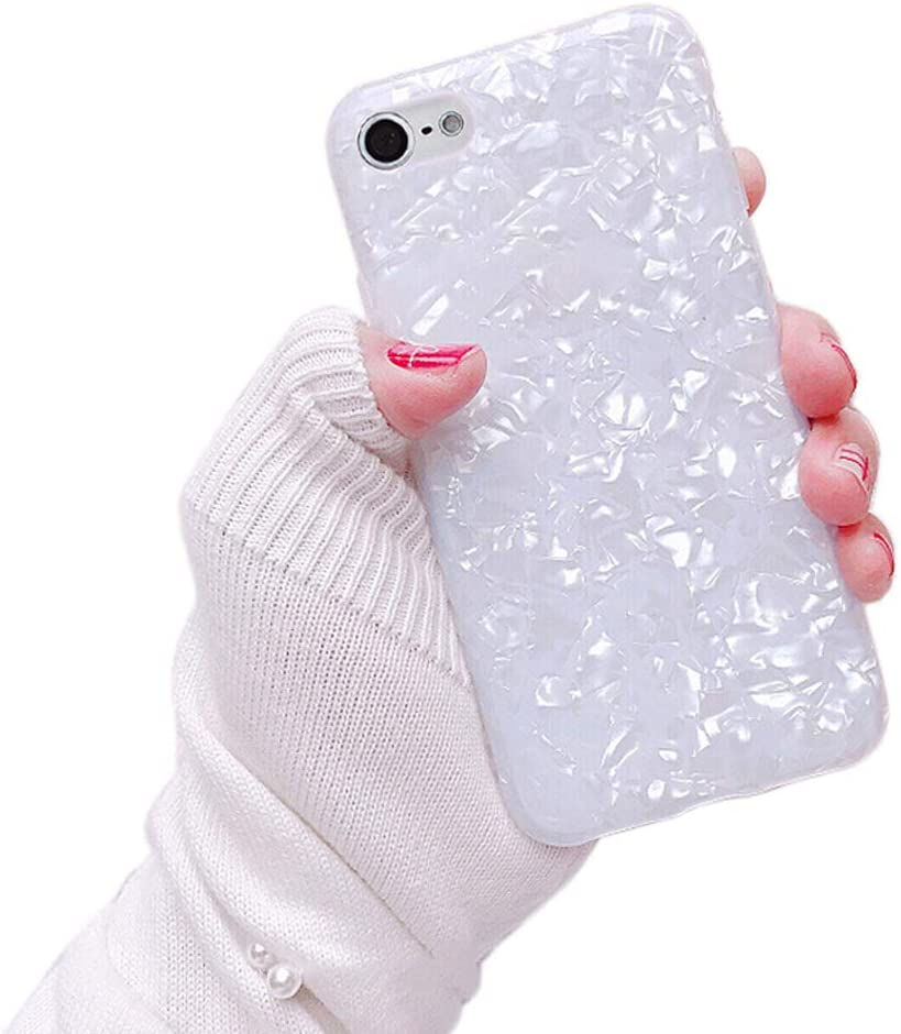 Dailylux Case for iPod Touch 7, iPod Touch 6, iPod Touch 5, Cute Phone Case Glitter Pearly-Lustre Slim Shell Protective Soft TPU Back Cover for Girls Women, White