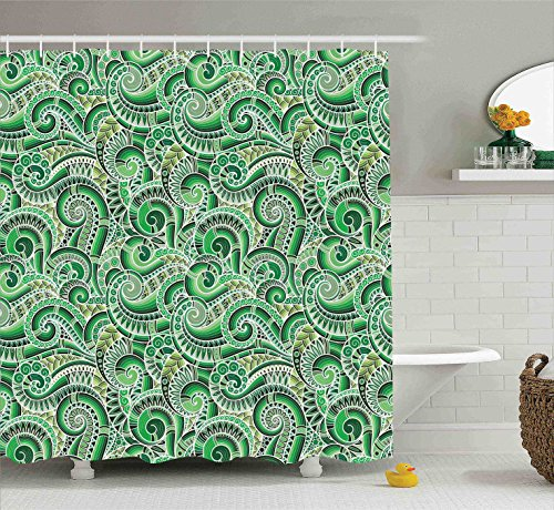 Mexican Bathroom Decor (Green Shower Curtain Asian Decor by Ambesonne, Classic Design Swirl Cucumber Illustration Curvy Outline Mexican Vegetable Summer Image, Fabric Bathroom Shower Curtain Set with Hooks, Lime Green Olive)