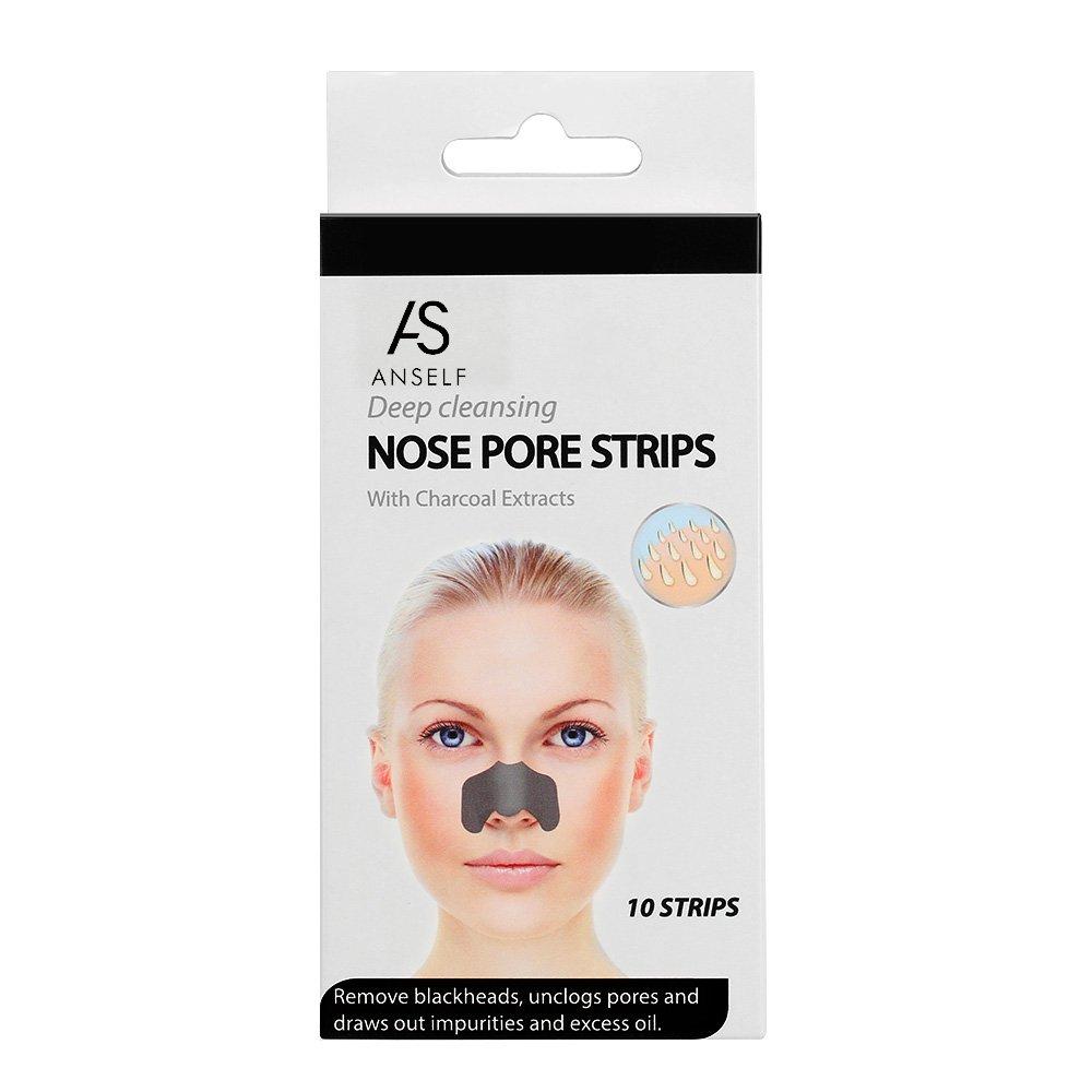 ANSELF - 10pcs Removedor de Espinilla Acné Puntos Negros de Poros de Nariz para la Limpieza Profunda (Tira Incluye Carbón Vegetal Extracto)