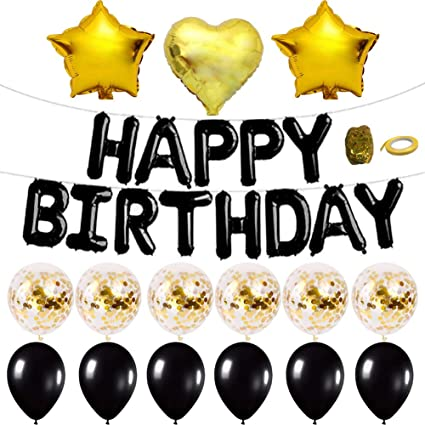 Tellpet Black Happy Birthday Banner Balloons For Party Decorations With 1 Letter