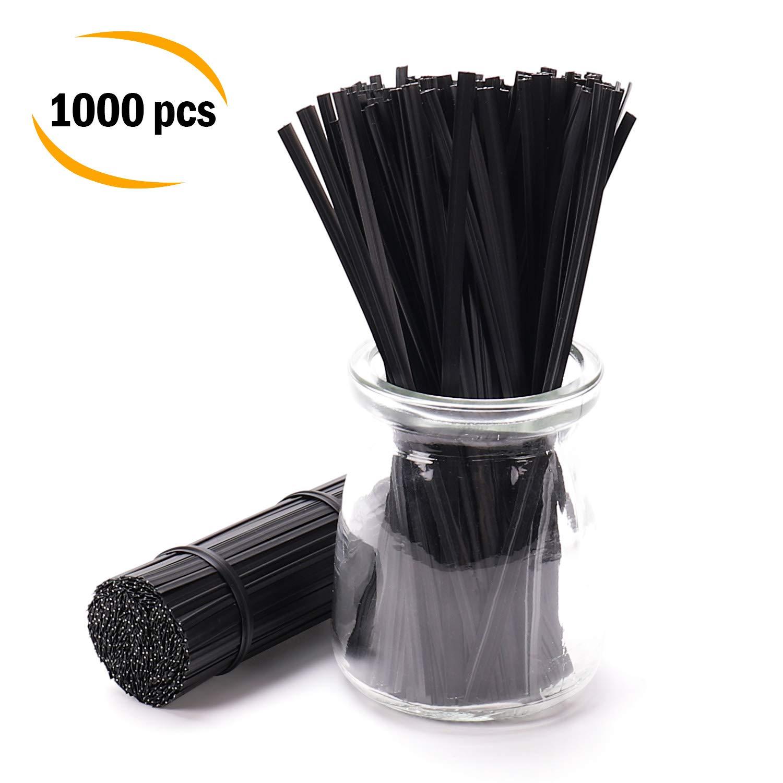 "Sago Brothers Black Twist Ties 1000pcs, 5"" Plastic Cable Ties"