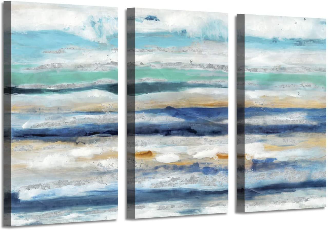 Abstract Picture Wall Art Artwork: Navy Blue Hand Painted Painting on Canvas for Living Room (34'' x 20'' x 3 Panels)