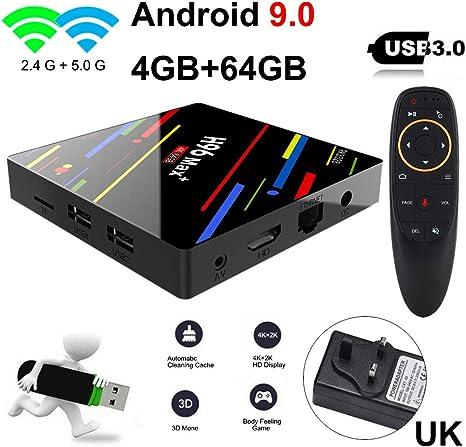 Asdomo H96 MAX Plus + Control por Voz Android 9.0 4K Smart TV Box 2G / 16G 4G / 32G 4G / 64G Normas británicas: Amazon.es: Informática