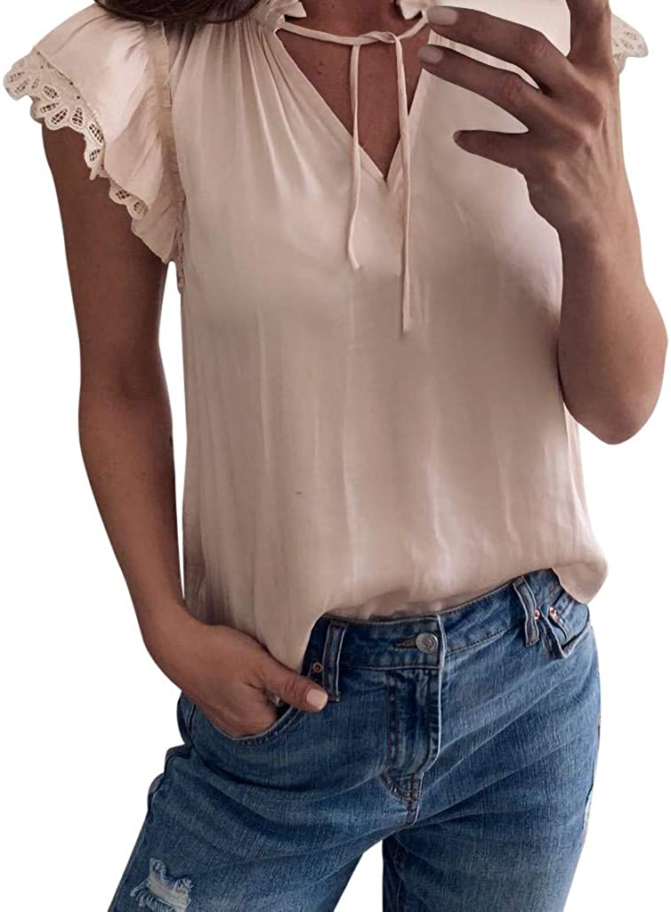 Redacel Womens Fashion Casual V Neck Pocket Short Sleeve Lapel Shirt Top