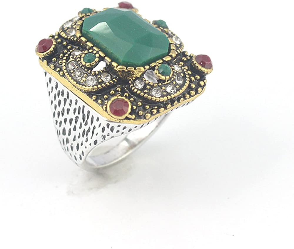 Emerald Ruby Victorian Jewelry Silver Plated and Brass Ring 10 S23801