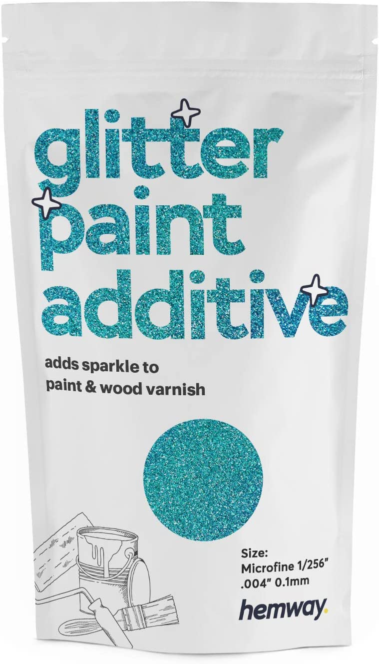Hemway MICROFINE Glitter Paint Additive Emulsion/Acrylic Water Based Paints 100g (Ocean Blue Holographic)