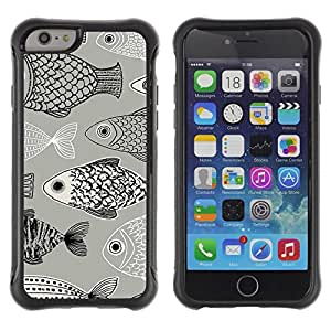 Suave TPU Caso Carcasa de Caucho Funda para Apple Iphone 6 / Pattern Black White Pen Drawing / STRONG
