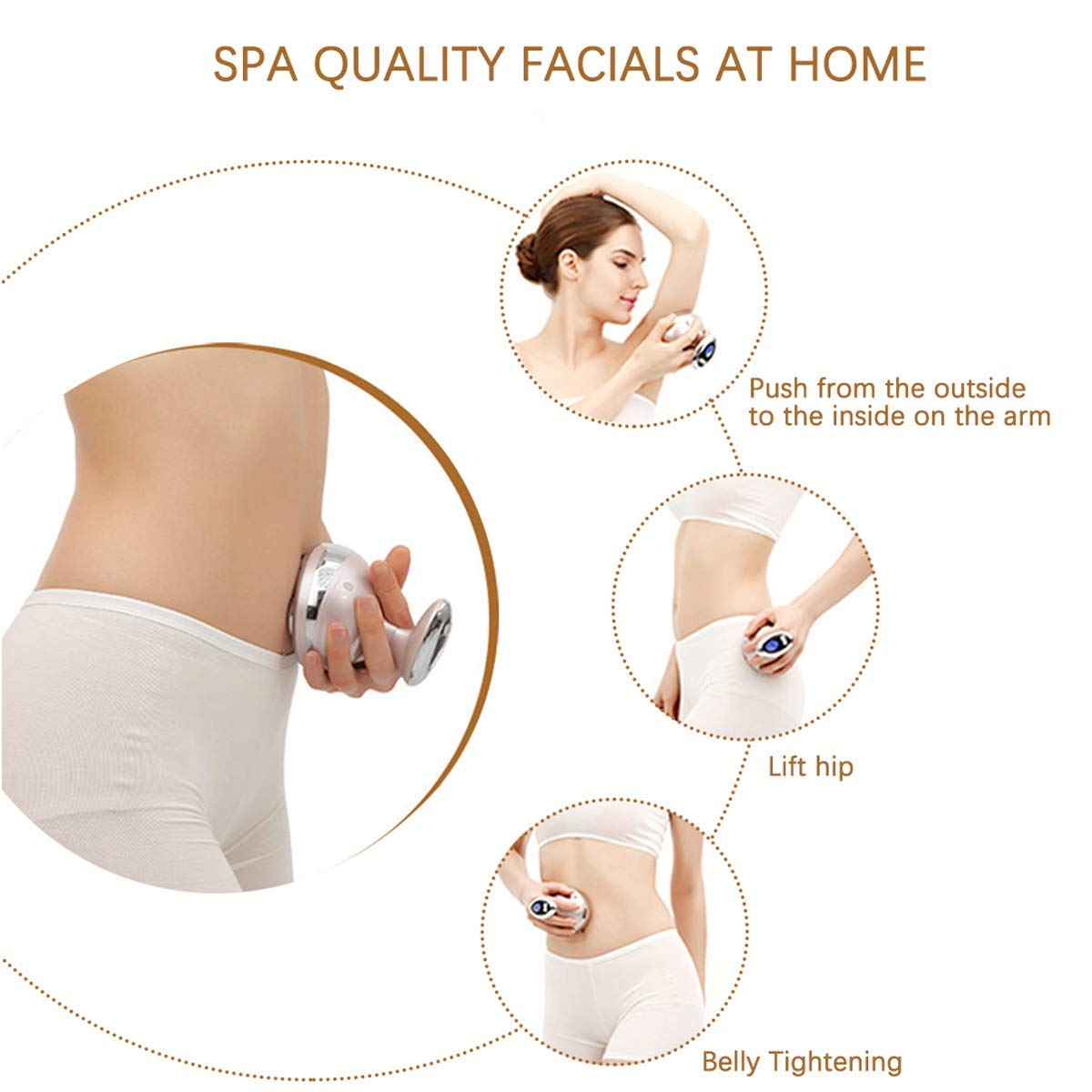 YOGAA Dispositif Corps tonifiant bruleur ultrasons Galvanic Fat Massage Anti-Cellulite Tummy Machine Ventre Perte Poids avec Red Light pour Corps Cavitation Jambe Cuisse