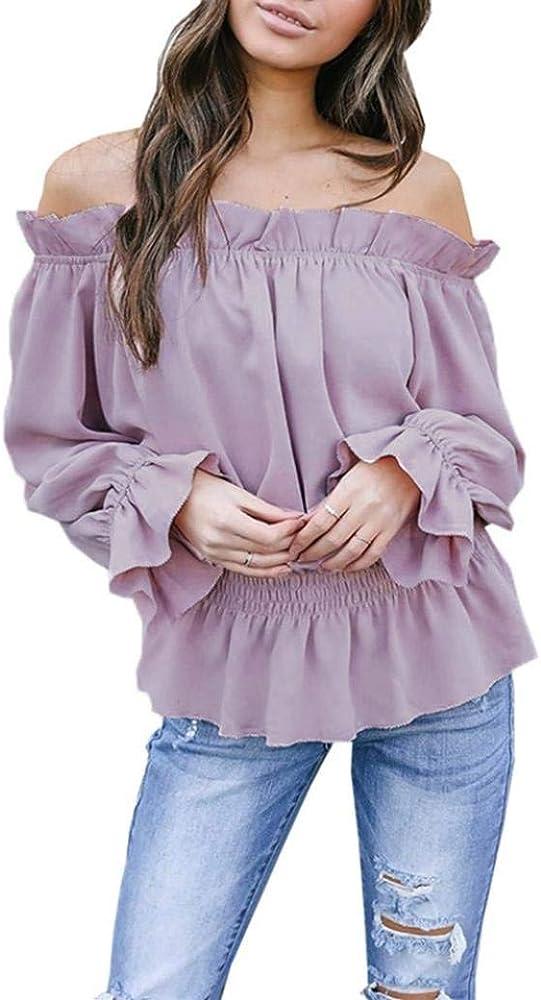 Camisa Sexy Blusas para Mujer Fuera del Blusa Larga Hombro Blusa Camisa Volantes Especial Estilo OL Business Blusa Gasa con Corte Slim (Color : Lila, Size : S): Amazon.es: Ropa y accesorios