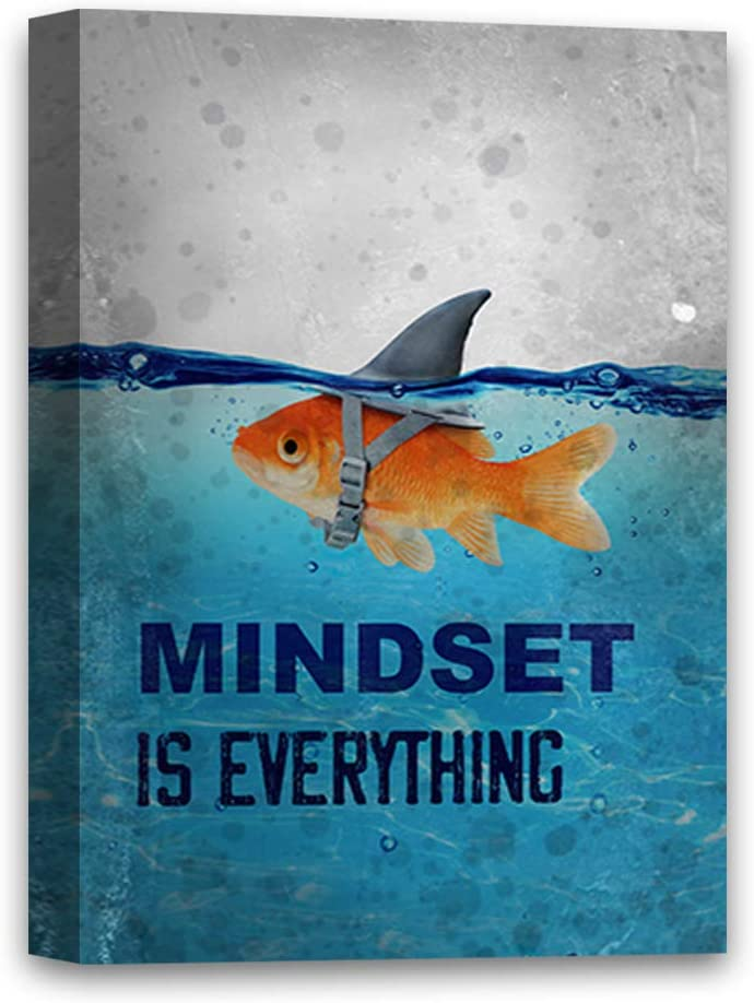 "Mindset is Everything Canvas Art Motivational Art Framed Office Decor Ready to Hang Picture Funny Fish Illustration Inspirational Canvas Mindset is Everything Fish 8"" x 12"""