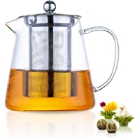 Glass Teapot 1000ml Stovetop Safe Loose Tea Maker with Removable Stainless Steel Infuser Strainer, 2 Blooming Tea Balls…