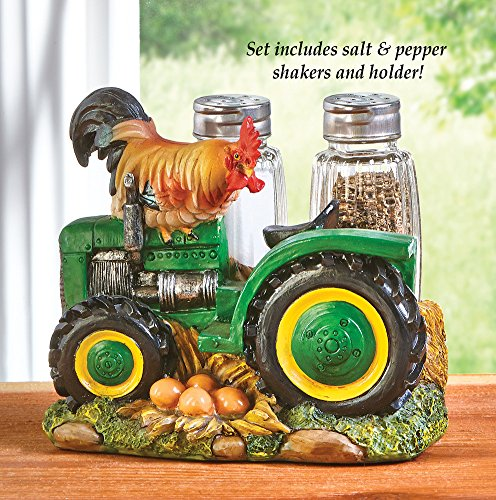 Salt and Pepper Country Rooster on Tractor Glass Shakers Set