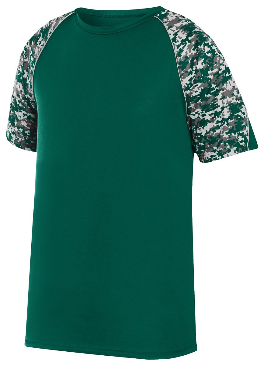 Augusta Sportswear Boys 'カラーブロックDigi Camo Jersey B01C5FT5S0 Large|Dark Green/Dark Green Digi/Silver Dark Green/Dark Green Digi/Silver Large