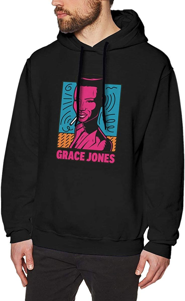 Luckyoung Grace Jones Comfort Mens Long Sleeve Fleece Hoodie Top Black