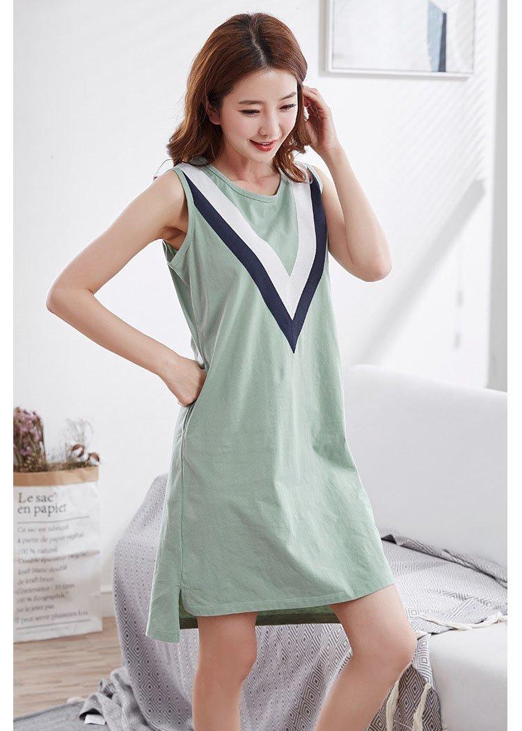YAN Damen Nachthemd Sommer Baumwolle Weste kann getragen Werden au/ßen einfache /ärmellose Haus Kleidung Nachthemd Farbe : 1, Gr/ö/ße : M